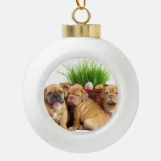 Easter Dogue de Bordeaux dog Ceramic Ball Decoration