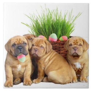 Easter Dogue de Bordeaux pups Ceramic Tile