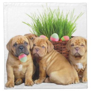 Easter Dogue de Bordeaux pups Cloth Napkins