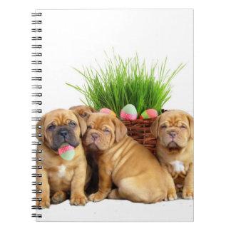 Easter Dogue de Bordeaux pups Spiral Notebook