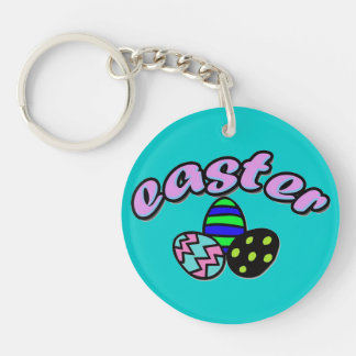 Easter & Dyed Eggs - Double-Sided Round Acrylic Key Ring
