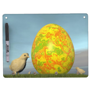 Easter egg and chicks - 3D render Dry Erase Board With Key Ring Holder