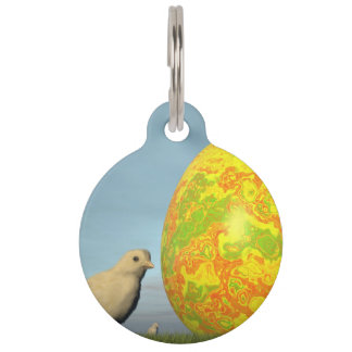 Easter egg and chicks - 3D render Pet Name Tag