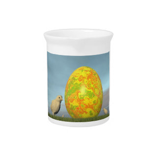 Easter egg and chicks - 3D render Pitcher