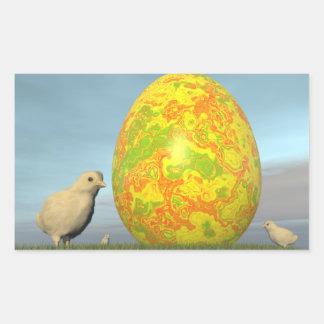 Easter egg and chicks - 3D render Rectangular Sticker
