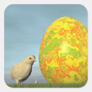 Easter egg and chicks - 3D render Square Sticker