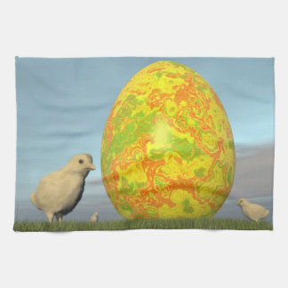 Easter egg and chicks - 3D render Tea Towel