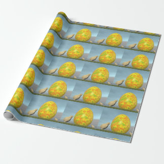 Easter egg and chicks - 3D render Wrapping Paper