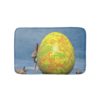 Easter egg and hare - 3D render Bath Mats