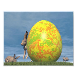 Easter egg and hare - 3D render Photographic Print