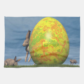 Easter egg and hare - 3D render Tea Towel