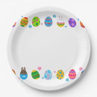 < Easter egg and rabbit side line > Easter Eggs & Paper Plate
