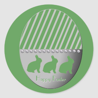 Easter Egg Bunnies Green Classic Round Sticker