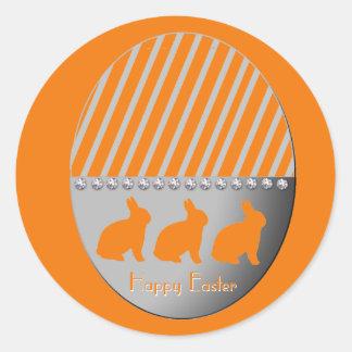 Easter Egg Bunnies Orange Round Sticker