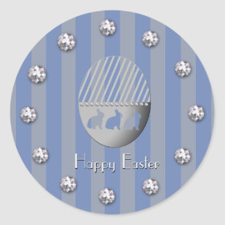 Easter Egg Bunny Blue Stripes and Jewel Bobs Round Sticker