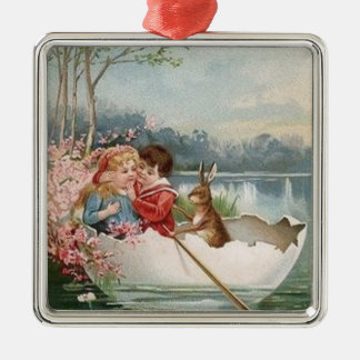 Easter Egg Bunny Boat Young Couple Landscape Silver-Colored Square Decoration