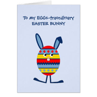 Easter egg bunny custom text funny blue greeting card