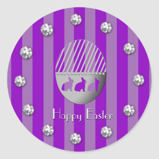 Easter Egg Bunny Purple Stripes and Jewel Bobs Classic Round Sticker
