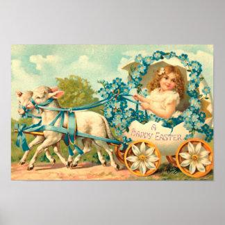 Easter Egg Carriage Vintage Christian Poster