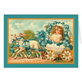 Easter Egg Carriage Vintage Floral Card