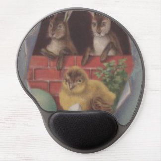 Easter Egg Chick Bunny Blue Forget Me Not Gel Mouse Pad