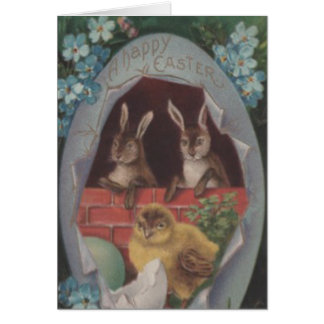 Easter Egg Chick Bunny Blue Forget Me Not Greeting Card