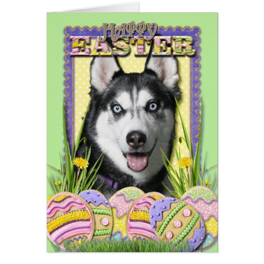 Easter Egg Cookies - Siberian Husky Card