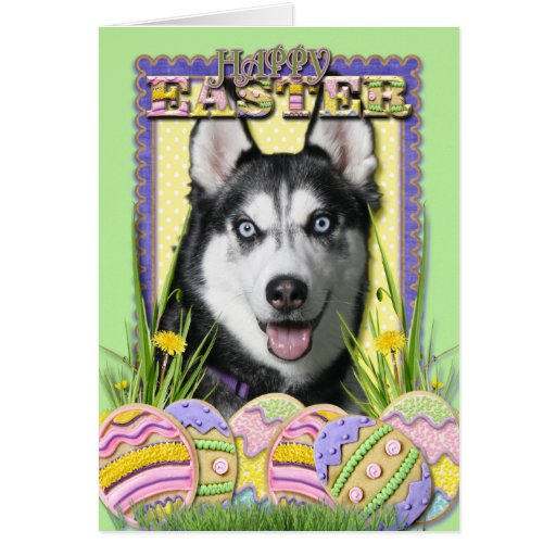 Easter Egg Cookies - Siberian Husky Greeting Card