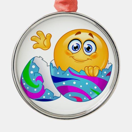Easter egg Emoji Metal Ornament