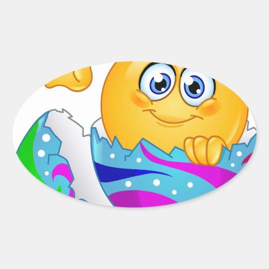 Easter egg Emoji Oval Sticker