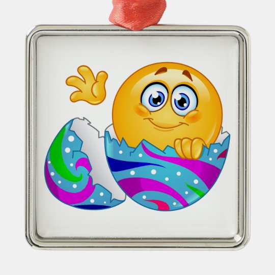 Easter egg Emoji Silver-Colored Square Decoration