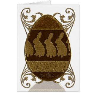 Easter Egg, Golden Easter Egg With Rabbits Card