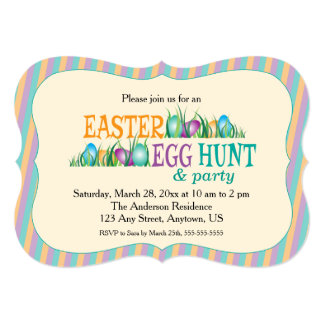 Easter Egg Hunt and Party, Colorful Eggs 13 Cm X 18 Cm Invitation Card
