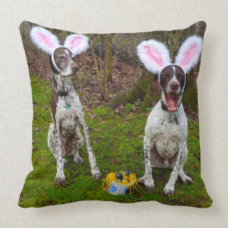 Easter Egg Hunt and Party Dogs Square Throw Pillow