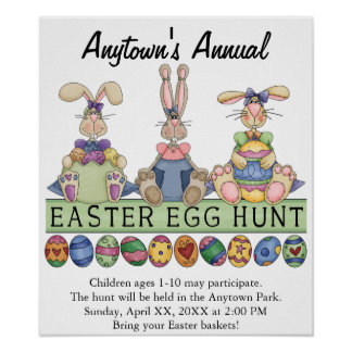 Easter Egg Hunt Announcement Advertisement Poster