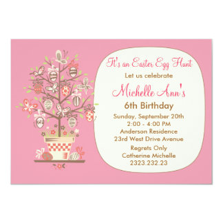 Easter Egg Hunt Birthday Party Pink Invite
