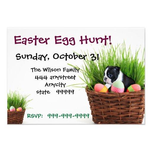 Easter Egg Hunt Boston Terrier Dog  invitation