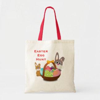Easter Egg Hunt Cute Bunny Rabbits Basket and Eggs Tote Bag
