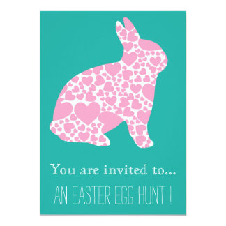 Easter Egg Hunt Easter party girly pink bunny Card