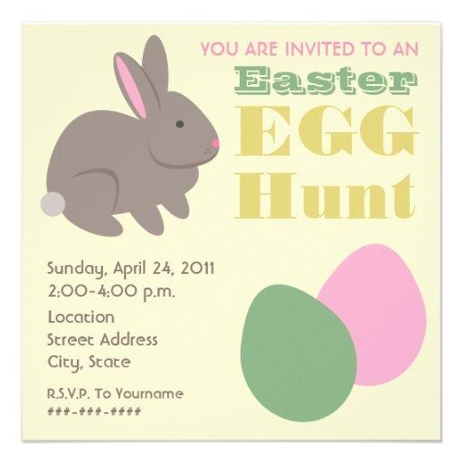 Easter Egg Hunt - Gray Bunny Custom Invites