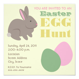 Easter Egg Hunt - Gray Bunny 13 Cm X 13 Cm Square Invitation Card