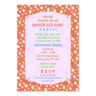 Easter Egg Hunt Party Elegant Retro Coral Pink 13 Cm X 18 Cm Invitation Card