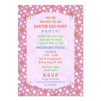 Easter Egg Hunt Party Elegant Retro Pink Purple 13 Cm X 18 Cm Invitation Card