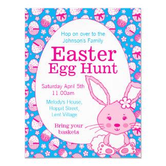 Easter egg hunt pink blue bunny invitations