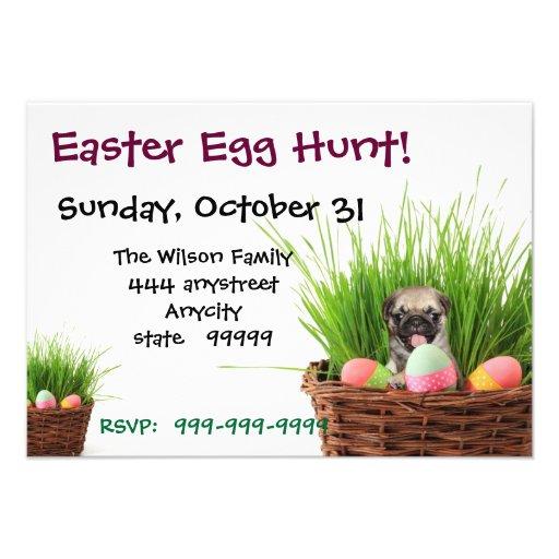 Easter Egg Hunt Pug party invitation