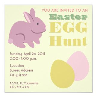 Easter Egg Hunt - Purple Bunny 5.25x5.25 Square Paper Invitation Card