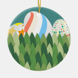 Easter Egg Hunt with Grass Background Ceramic Ornament