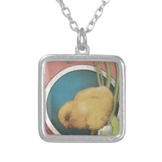 Easter Egg Postcard Silver Plated Necklace