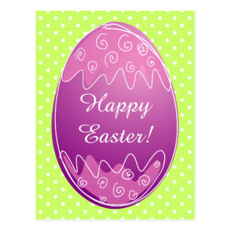 Easter egg postcards with white polka dots pattern