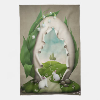 Easter Egg Rabbits Kitchen Towel